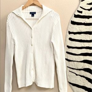 ANN TAYLOR LS Button Up Sweater In Ivory